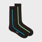 Paul Smith Men's Black Vertical Neon Stripe Socks