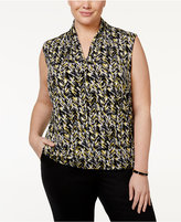 Nine West Plus Size Pleated V-Neck Top