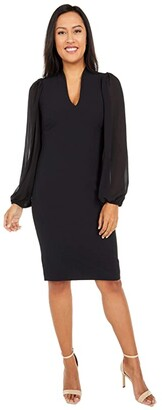 Vince Camuto Kors Crepe Bodycon Dress w/ Chiffon Combo at Back and Sleeve (Black) Women's Clothing
