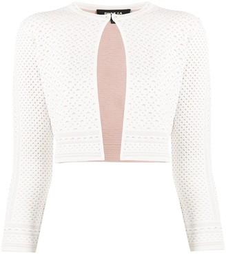 Paule Ka Cropped Geometric Knit Cardigan
