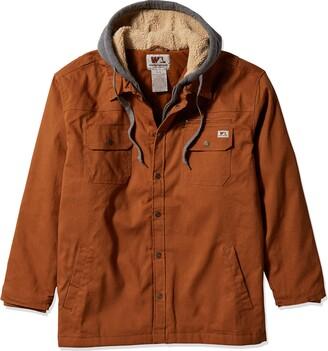 Wells Lamont Men's Quilted Flex Canvas Shirt Jacket with Sherpa Lined Fleece Hood