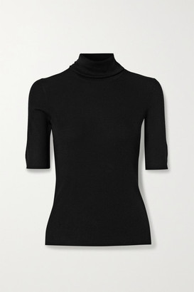 Theory Leenda R Ribbed Merino Wool-blend Turtleneck Sweater - Black