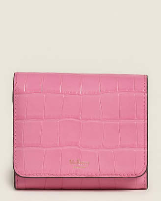 Mulberry Raspberry Pink Small Croc-Embossed French Wallet