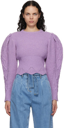 Wandering Purple Wool Scalloped Knitwear Sweater