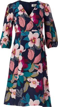 Brinker & Eliza Women's Printed MIDI WRAP Dress