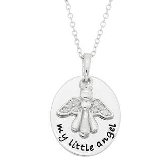 FINE JEWELRY 1/10 CT. T.W. Diamond Angel Sterling Silver Pendant Necklace