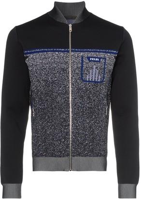Prada logo print knitted zip-up bomber jacket
