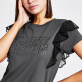 River Island Grey 'Amour' diamante frill T-shirt