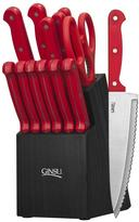 Ginsu Essential Series 14-Piece Cutlery Set in Red with Block in Black