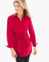 Chico's Long Layered Tie Shirt in Renaissance Red