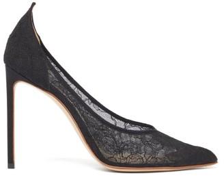 Francesco Russo Point Toe Silk Lace Pumps - Womens - Black