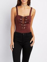 Charlotte Russe Sleeveless Lace-Up Bodysuit