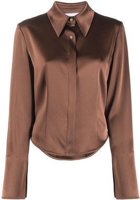 Nanushka Long-Sleeve Silk Shirt