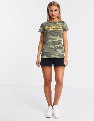 Von Dutch logo t-shirt in camo print