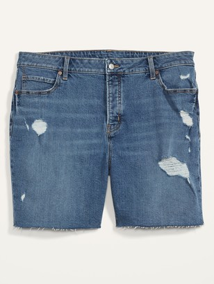 Old Navy Extra High-Waisted Secret-Slim Pockets Sky Hi Plus-Size Button-Fly Jean Shorts -- 7-inch inseam