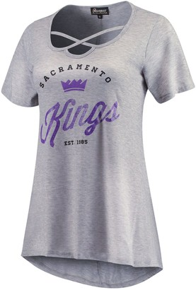 Women's Heathered Gray Sacramento Kings Criss Cross Front Tri-Blend T-Shirt