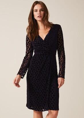 Phase Eight Perrie Spot Velvet Burnout Dress
