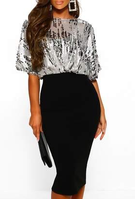 Pink Boutique Miss Glitz Black Sequin Batwing Top Midi Dress