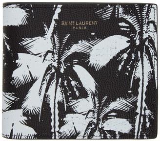 Saint Laurent Black and White Palm Tree East/West Wallet