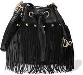 Diane von Furstenberg Vintage Boho Disco suede-fringed textured-leather bucket bag