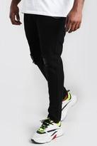 boohoo Mens Black Big And Tall Rigid Skinny Jean With Chain, Black