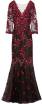 Marchesa Embroidered Tulle Gown - Black