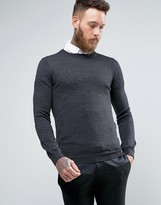 Asos Muscle Fit Merino Wool Jumper In Grey