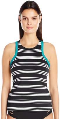 Jag Women's Harbour Stripe High Neck Racerback Swimsuit Tankini Top