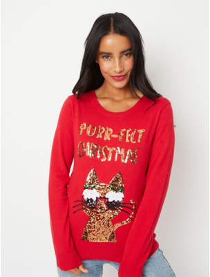 George Red Sequin Purrfect Slogan Christmas Jumper