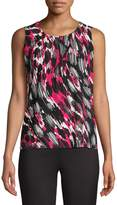 Kasper Suits Abstract-Print Pleated Top
