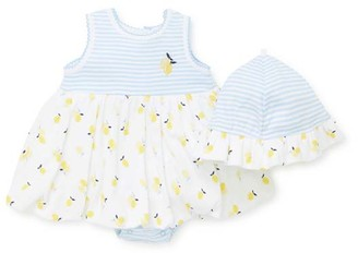 Little Me Girls' Infant Bodysuits Yellow - Yellow Lemon Skirted Bodysuit & Bonnet - Infant