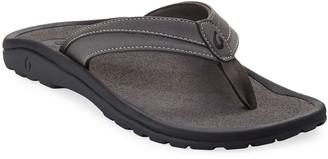 OluKai Men's ʻOhana Koa Thong Sandals, Gray
