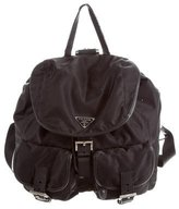 Prada Leather-Trimmed Vela Backpack