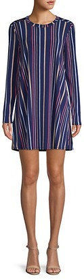 BCBGeneration Striped Long-Sleeve A-Line Dress