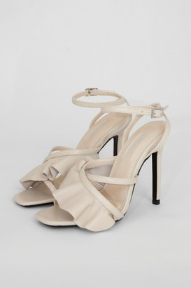 Topshop Womens Rosie Ivory Frill Ankle Tie Heels - Ivory