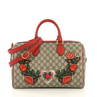 Gucci Boston Brown Cloth Handbags