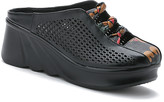 Rumour Has It Women's Clogs Black - Black Perforated Leather Wedge - Women