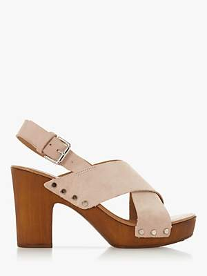 3738859503b4 at John Lewis and Partners · Dune Immi Leather Wooden Platform Sandals