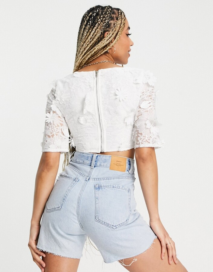 Thumbnail for your product : Parisian square neck floral applique crop top co-ord in white