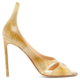 Francesco Russo Snakeskin Stiletto Sandals - Yellow