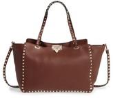 Valentino Garavani 'Rockstud' Grained Calfskin Leather Tote - Brown