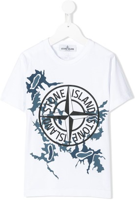 Stone Island Junior graphic-print branded T-shirt