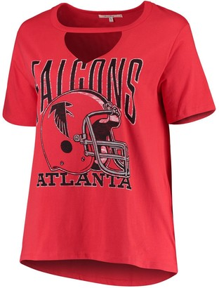 Junk Food Clothing Unbranded Women's Red Atlanta Falcons Fashion Plus Cut-Out T-Shirt