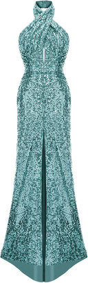 Rasario Draped Sequined Halter-Neck Maxi Dress