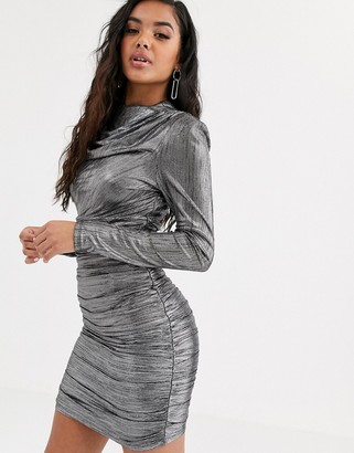 4th + Reckless ruched long sleeve mini dress in metallic silver