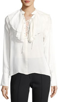 Etro Ruffled Lace-Up Silk Blouse