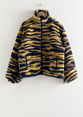 And other stories Tiger Print Utility Fleece Jacket