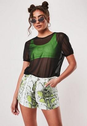 Missguided Petite Neon Green Snake Print Co Ord Denim Mom Shorts