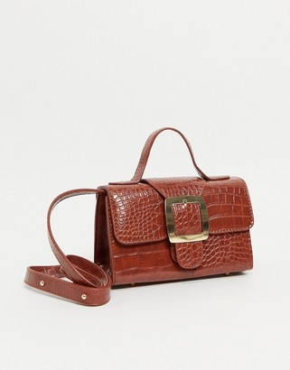 Ego x Molly Mae mini bag with buckle in patent brown croc