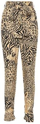 Dundas Leopard crApe high-rise pants